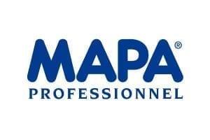 Immagine che mostra il logo della ditta mapa. Uni3 servizi, fornitori di detergenti, imballaggio, antinfortunistica, abbigliamento professionale e articoli in carta.